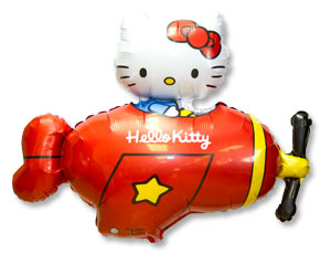 Шар на палочке Hello Kitty самолет красный